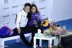 Daisuke Takahashi of Japan and his coach pose for photo agter the Men Short Program during Cup of China ISU Grand Prix of Figure Skating 2012 at the...
