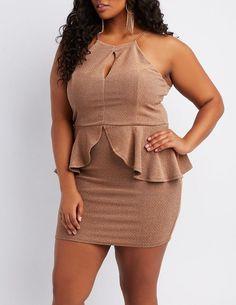 22f350ef64 Charlotte Russe Plus Size Shimmer Knit Peplum Bodycon Dress Looks Para  Balada