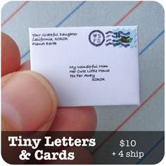 Tiny letters, packages, and invitations! You write the letter and the company writes it in teeny tiny hand writing. What a great idea to give your kids from the easter bunny or the tooth fairy!