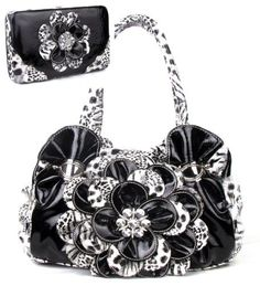 Black Leopard Flower Rhinestone Fashion Handbag W Matching Wallet