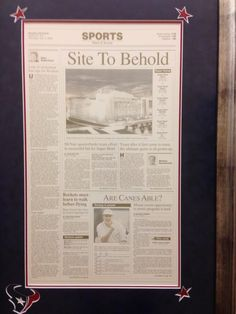 Remember this? November 2, 2000 cover of the Houston Chronicle. Celebrating Houston's upcoming Super Bowl in 2004.