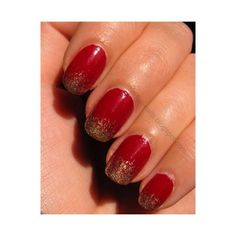 Red and gold gradient nails Nail Art Gallery ❤ liked on Polyvore