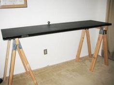 How to Make a Chalkboard Table Using Inexpensive Paint Make A Chalkboard, Chalkboard Table, Door Table, Home Office, Desk, Doors, How To Make, Office Ideas, Furniture