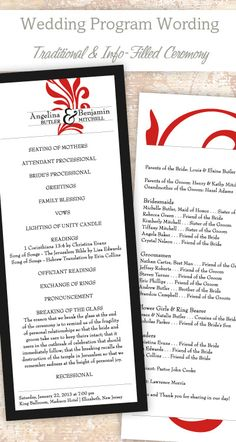 Traditional Wedding Program Wording & Template #wedding #program #ideas