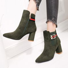 Color Block Chunky High Heeled Velvet Point Toe Date Office High Heels Boots - Mixed Shop Chunky High Heels, High Heel Boots, Shoe Boots, Ankle Boots, Pretty Shoes, Beautiful Shoes, Warm Boots, Sexy Heels, Shoes Outlet