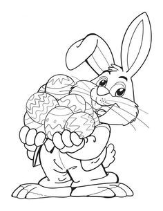 Bunny with eggs - Free Printable Coloring Pages