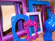 Frames Upcycled Painted Colorful Home Decor Purple Blue Whimsical decor