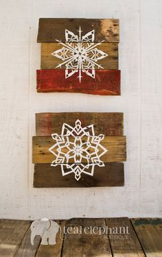 Pallet Art Holiday Snowflake Wall Hanging by TealElephantBoutique, $39.99
