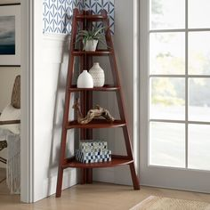 Beachcrest Home Pierview Corner Bookcase Colour: Cherry Corner Bookshelves, Cube Bookcase, Etagere Bookcase, Ladder Bookcase, Bookcases, Book Shelves, Corner Desk, Corner Unit, Cozy Corner
