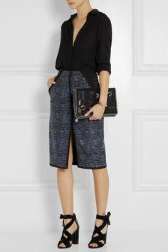 Isabel Marant Amelia suede and leather sandals NET-A-PORTER.COM The Row shirt, Jonathan Simkhai skirt, Stella McCartney bag