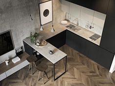 10 Inspiring Modern Kitchen Designs – My Life Spot Small Apartment Interior, Small Apartment Kitchen, Small Space Kitchen, Kitchen Ideas For Small Spaces Design, Bedroom Apartment, Beautiful Kitchens, Cool Kitchens, Small Kitchens, Small Appartment
