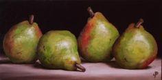 Four Pears, J Palmer Daily painting Original oil still life Art