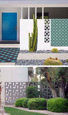 """Block tile walls (also referred to as """"breeze blocks"""") used on the exteriors of mid century modern homes. Mid Century Landscaping, Backyard Landscaping, Backyard Ideas, Breeze Block Wall, Casa Top, Tableaux Vivants, Mid Century Exterior, Modern Landscape Design, Ficus"""