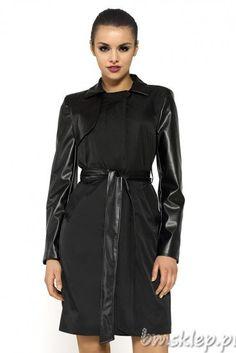 #Płaszcz z tkaniny i eko-skóry #Coat made of fabric and faux-leather