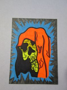 ACEO PAF PENNYFEST Death Black Light Horror Collectible Artist Trading Card #ebay #aceo #horror #death