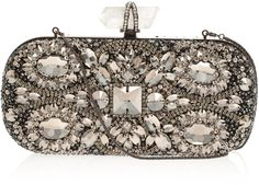 Marchesa Red Lily Embroidered Clutch Bag