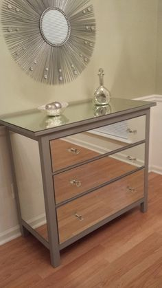 Mirrored Dresser Silver Upcycled Ikea 3 Drawer Mirror By Anareflections On Etsy