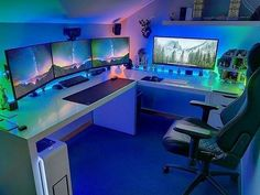 Cool Ultimate Game Room Design Ideas ☼ Via Livingadore Gaming Setup Rooms Setup Xbox Best Computer Chairs, Computer Gaming Room, Gaming Desk Setup, Best Gaming Setup, Ultimate Gaming Setup, Cool Gaming Setups, Computer Laptop, Fun Video Games, Video Game Rooms