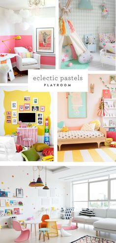 roundup of pink, mint, and yellow playroom decor
