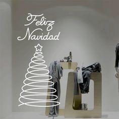 """Vinilo decorativo navideño para escaparates o paredes, para decorar esta Navidad con un elegante árbol navideño formado únicamente con un trazo continuo y la frase """"Feliz Navidad""""."""