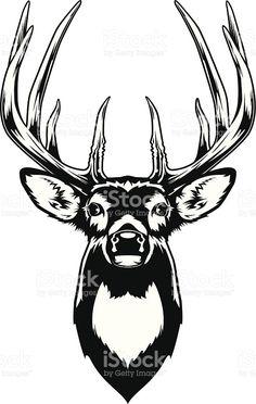 Illustration about Vector Illustration of a Whitetail Deer Head. Illustration of head, stag, vector - 43436427 Hirsch Silhouette, Deer Head Silhouette, Silhouette Art, Deer Vector, Vector Art, Deer Head Tattoo, Raven Tattoo, Tattoo Ink, Arm Tattoo