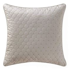 From the Waterford bedding collection, the Chantelle Euro Sham is the perfect added accessory to this delectable bed. A beautiful quilted ivory face with gold embroidery, and a subtle taupe stripe jacquard on the reverse.