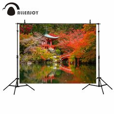 Allenjoy Asian scenery Japanese Maple Leaf Bridge River Fall autumn photo backdrop fund photo booth photography studio funds