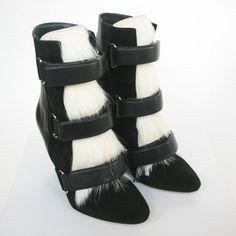 ISABEL MARANT $1,560 leather goat fur Pierce wedges runway booties boots 36 NEW #IsabelMarant #FashionAnkle