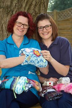 Jo Ogden, Airedale Hospital physiotherapy assistant, and Sara Robinson, senior nurse, with some Twiddlemuffs