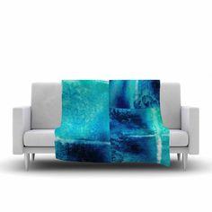 """Nina May """"Saltwater Study"""" Teal Blue Fleece Throw Blanket"""