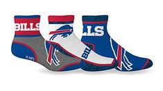 Men's NFL Buffalo Bills 3-Pack Sport Quarter Socks SPORTICUS #ad