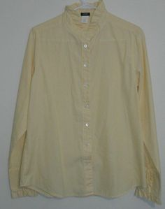 $29.95 OBO j. crew yellow & blue stripe ruffle collar long sleeve button down shirt size 12 #freeshipping