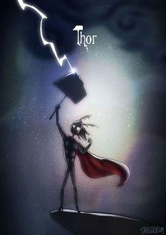 Les super héros façon Tim Burton par Tarusov : Thor: