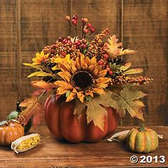 Pumpkin with Flowers- use the foam pumpkins and silk flowers.