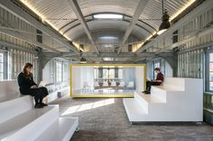 the-moveables-exhibition-polylester-interior-on-wheels-fort-vijfhuizen_dezeen_sq. Folding Furniture, Multifunctional Furniture, Design Furniture, Funky Furniture, Furniture Ideas, Corporate Interiors, Office Interiors, Tiered Seating, Auditorium Seating