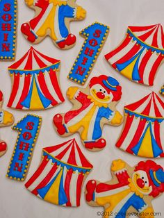 Circus themed Custom cookies by Cookievonster, via Flickr
