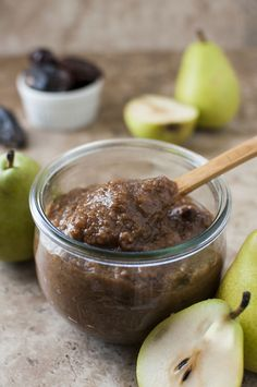 The perfect easy recipe for fall. Crock pot recipe: pear butter (no sugar) only sweetened naturally with a few dates. Fruit is sweet enough already.