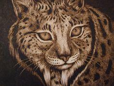 30x40 cm - lynx - pyrography by Lesina Elena