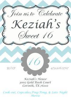 Sweet 16 Birthday Invites
