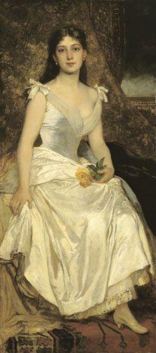 Lotz, Károly | Ilona Lotz in White | 1880s | Oil , Canvas 168,7 x 75,4 cm | Inv.: 3524