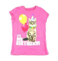 pink kitty t-shirt, Chilren's place t-shirt, birthday t-shirt