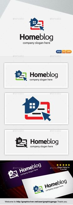 Home Blog Logo Design Template Vector #logotype Download it here: http://graphicriver.net/item/home-blog/12577957?s_rank=577?ref=nexion