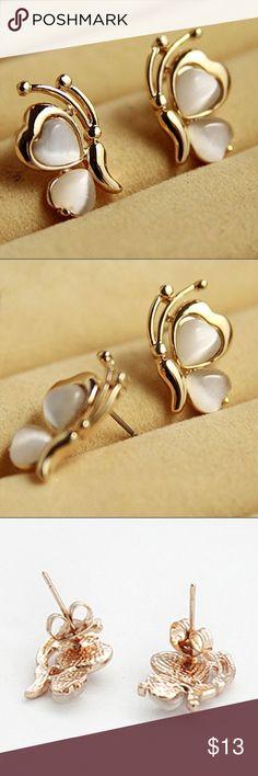 Golden Butterfly Studs. Cute butterfly earrings. Jewelry Earrings