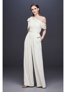 One-Shoulder Crepe Wedding Jumpsuit with Bow DS870059