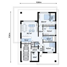 Projekt domu Z443 Współczesny, przytulny dom parterowy z wydzieloną sypialnią główną od ogrodu Beautiful House Plans, Beautiful Homes, Two Bedroom House, Architectural House Plans, Projects To Try, New Homes, Floor Plans, Farmhouse, Exterior