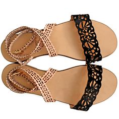 Flat sandals inspired by Persian culture. Made from natural leather and embellished with laser-cut decorations inspired by oriental symbols. Flat Sandals, Flats, Persian Culture, Natural Leather, Inspired, Inspiration, Collection, Loafers & Slip Ons, Biblical Inspiration