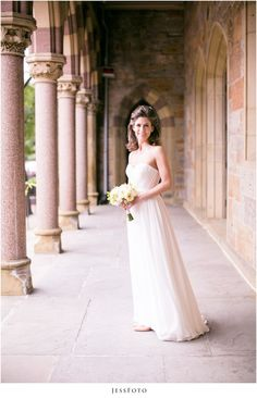 Bride at First Church Boston by JessFoto, white bouquet, classic dress