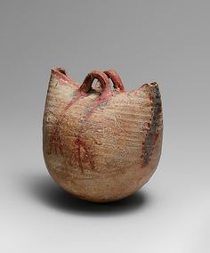 Basket Vessel    Period:      New Kingdom  Dynasty:      Dynasty 18  Date:      ca. 1550–1295 B.C.  Geography:      Egypt  Medium:      Clay, buff pottery