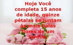 Mensagem de Aniversário 15 anos com flores de um jardim