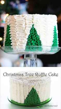 Christmas Tree Ruffle Cake , An amazing ruffle cake idea you must try! Christmas Tree Ruffle Cake is the best dessert recipe with a surprise inside that youll surely love. Make this easy dessert to impress your guests! Save this pin for later! Christmas Tree Cake, Christmas Cake Decorations, Holiday Cakes, Christmas Desserts, Christmas Treats, Christmas Baking, Holiday Foods, Cake Decorating Videos, Cookie Decorating